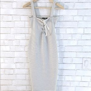 Stripped Tie Bodycon Midi Dress